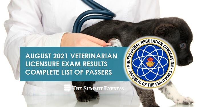 August 2021 Veterinarian board exam list of passers, top 10