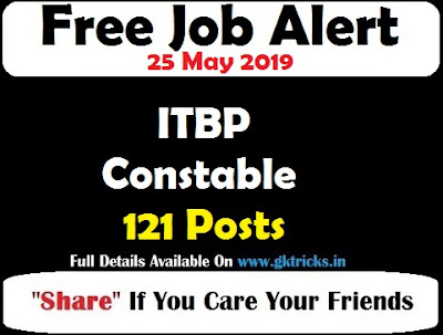 ITBP Constable Recruitment 121 Posts