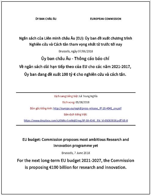 Thông cáo báo chí của Ủy ban châu Âu - đề xuất 100 tỷ € cho nghiên cứu và cách tân giai đoạn 2021-2027 thông qua chương trình Horizon Europe
