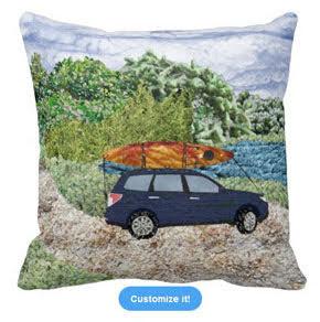 """""""Paddling Day"""" car with kayak at lake art photomontage Pillow"""