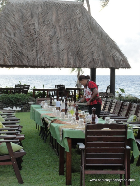 setting table for Fijian Lovo Feast at Paradise Taveuni in Fiji