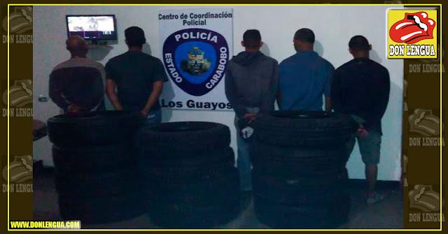 Capturados cinco ladrones de cauchos en Los Guayos