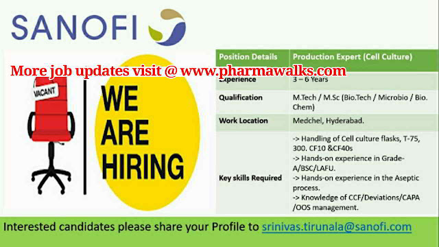 Sanofi hiring for Production expert (Cell culture) - M.Sc / M.Tech (Biotech/Microbiology/Biochem) || Apply Now