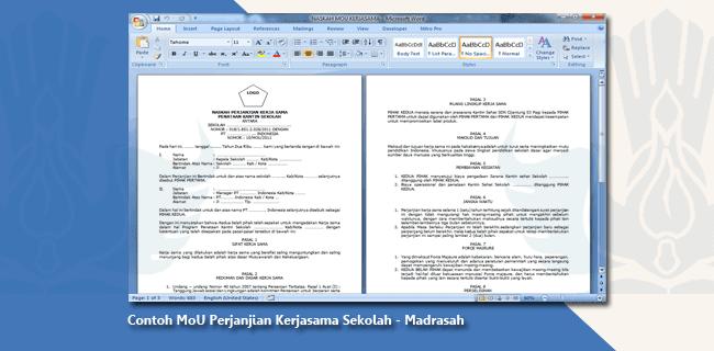 Contoh MoU Perjanjian Kerjasama Sekolah - Madrasah
