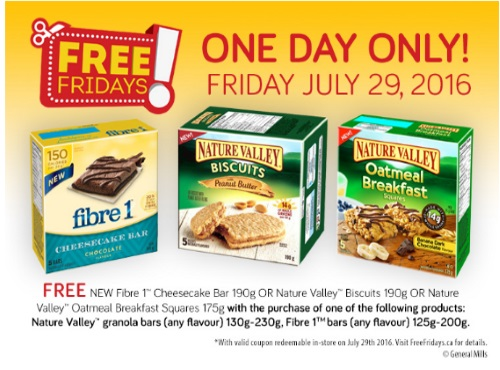 *Reminder* Free Fibre 1 Cheesecake Bar, Nature Valley Biscuit or Oatmeal Breakfast Square Coupon