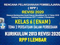 RPP 1 Lembar Kelas 6 Tema 2 SD/MI Kurikulum 2013 Revisi 2020 Tahun Pelajaran 2020 - 2021