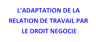 L'ADAPTATION DE LA  RELATION DE TRAVAIL PAR  LE DROIT NÉGOCIE