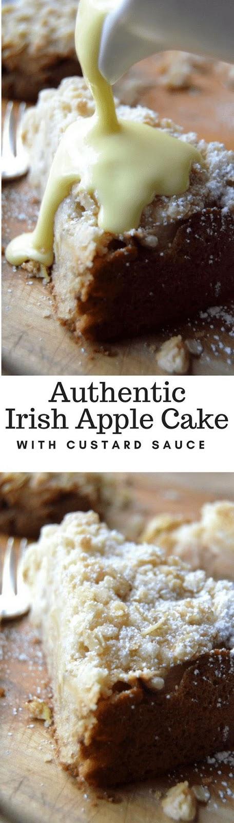 Authentic Irish Apple Cake With Custard Sauce