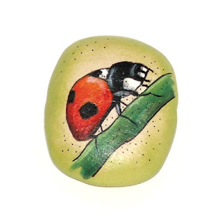 ladybird wooden bead hand painted