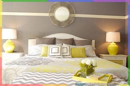 سرير غرف نوم بالرمادي والأصفر