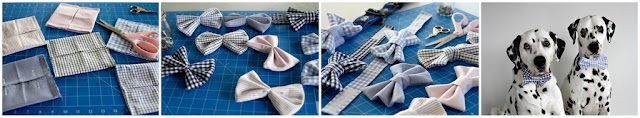 Old dress shirt cuffs being made into dog bow ties
