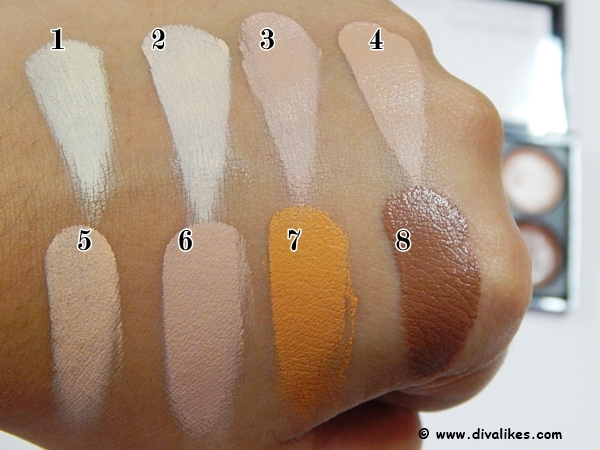 Kiss Beauty Highlighter and Contour Concealer Palette Swatches