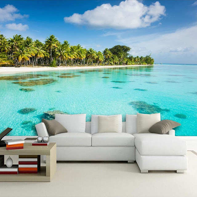 Tropical Wall Murals Beach Ocean 3D Photo Wallpaper