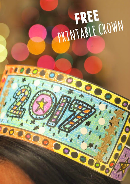 free printable new year's crown- print, color,and fill it in these crowns for a fun kids craft