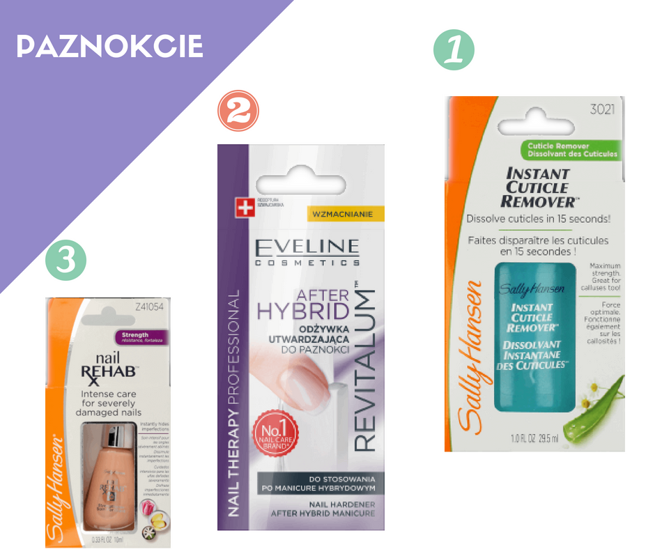Sally Hansen żel do skórek, Eveline after hybrid, Nail rehab