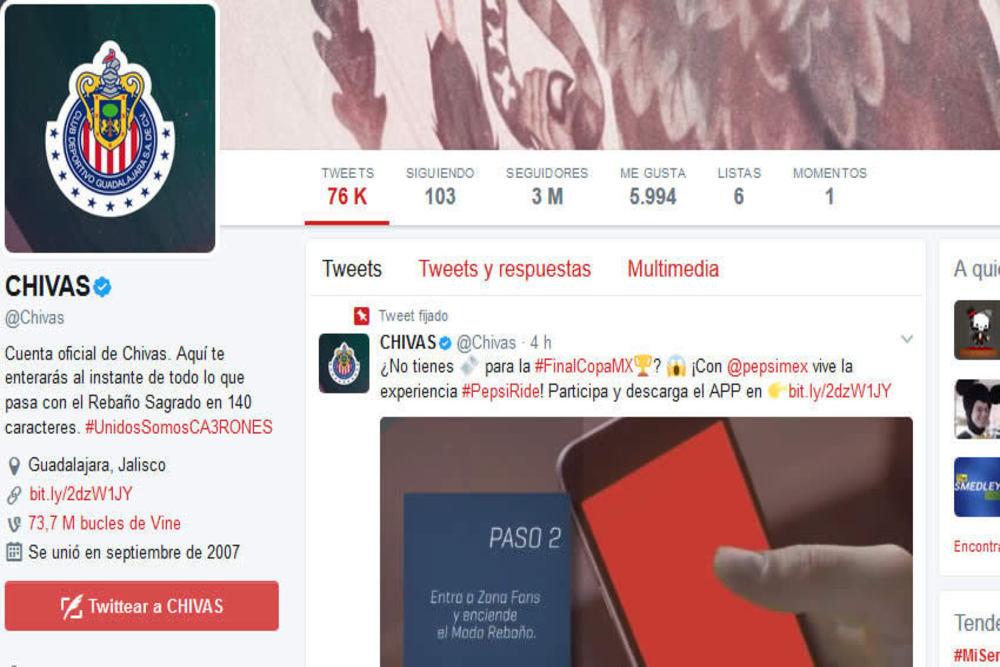 En 10 años, las Chivas son el primer club mexicano con 3 millones de followers.