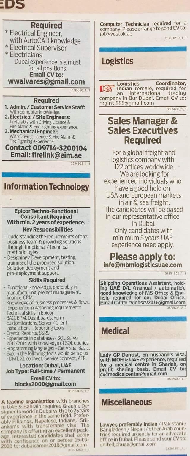 Required Multiple Position Local Hiring UAE-UAE-1309106