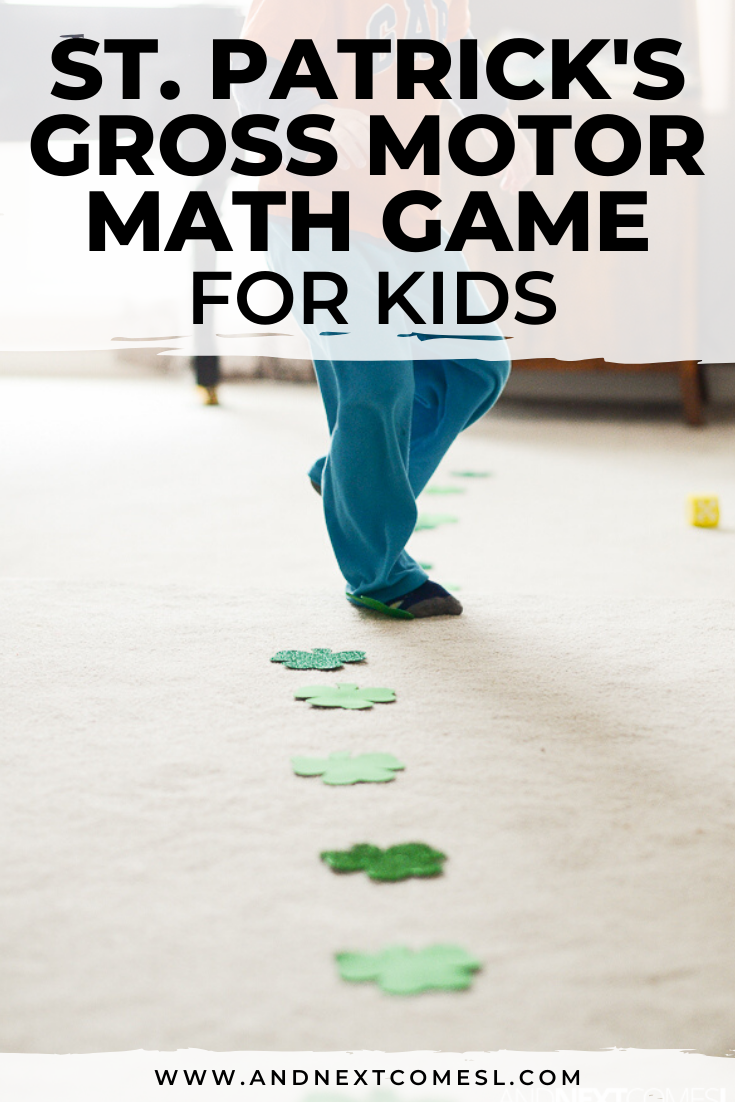 St. Patrick's Day gross motor game and math activity for kids