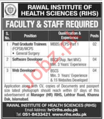 Jobs in Rawal Institute of Health Sciences RIHS 2020