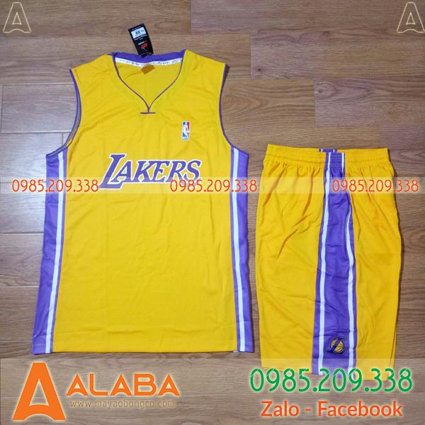 Áo bóng rổ Lakers màu vàng chất