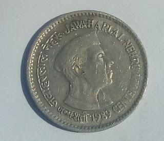 One Rupee Jawaharlal Nehru Centenary 1889 coin