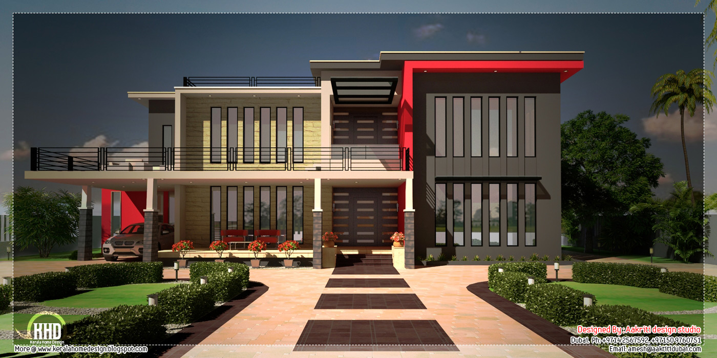 Beautiful contemporary luxury villa with floor plan for Modern house plans with photos