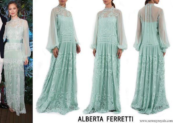 Beatrice Borromeo wore ALBERTA FERRETTI Lace Embroidered Maxi Dress
