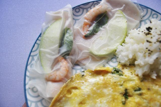 arroz, rollitos y francesa