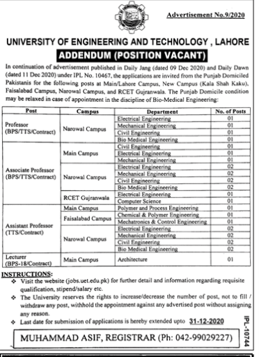 Latest University Of Engineering And Technology Jobs 2020