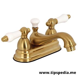 brushed gold centerset bathroom faucet