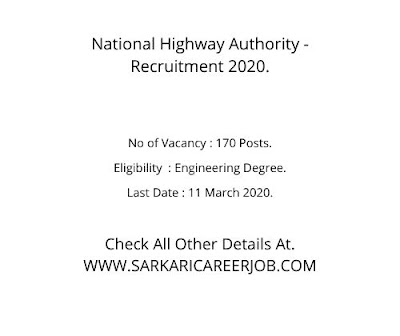 170 Posts NHAI Vacancy 2020. NHAI Careers 2020.