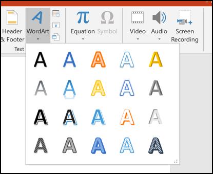 خيارات WordArt المختلفة في PowerPoint