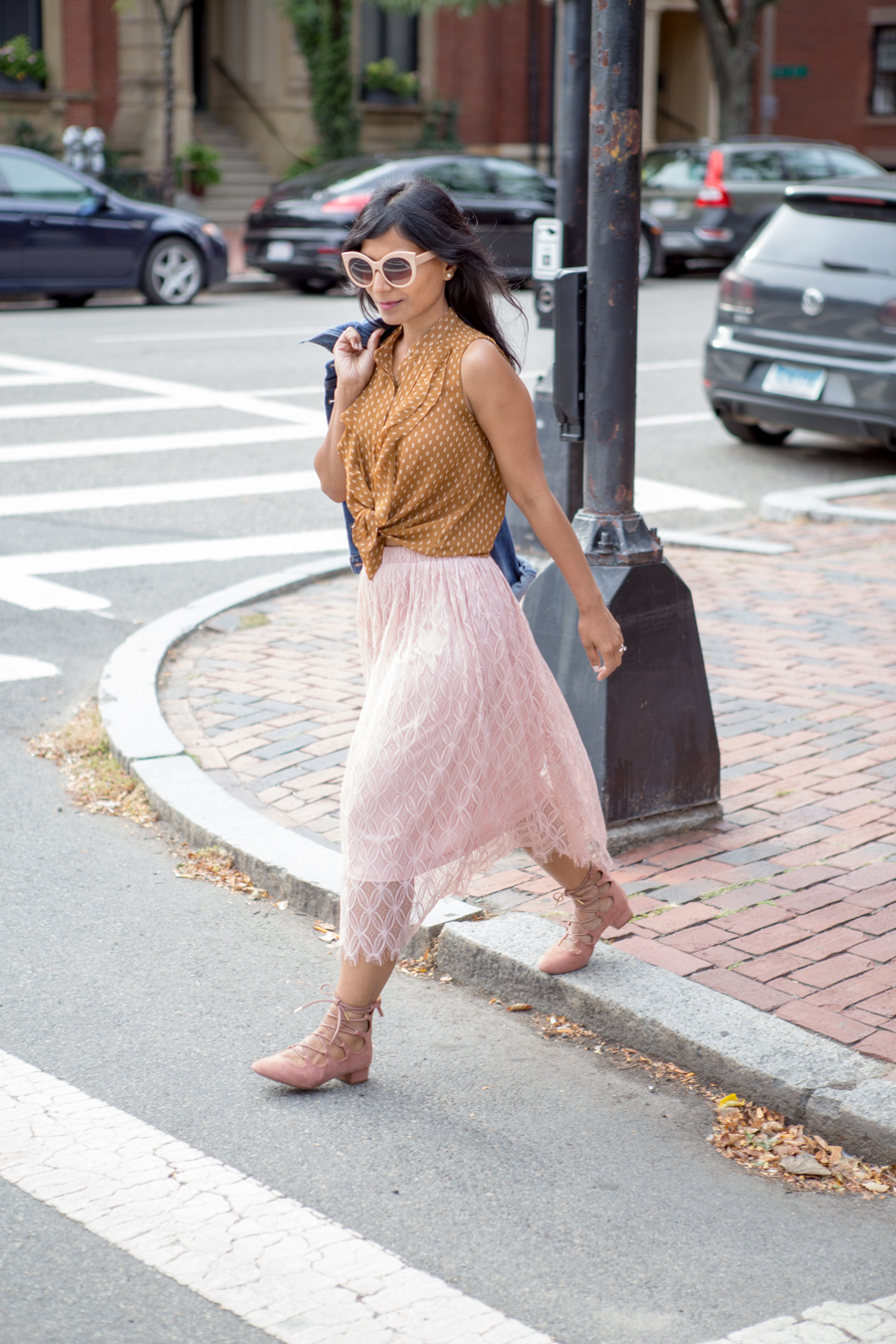 nyfw16, pink lace-up shoes, blush lace skirt, versatile style, casual outfit, dressy outfit, petite fashion, felted hat, fall wardrobe updates, how to wear your summer pieces longer, felted wool hat, brixton, forever 21, trendy, easy style tips