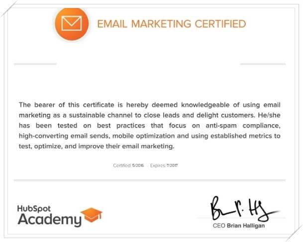شهادة التسويق بالبريد الإلكتروني