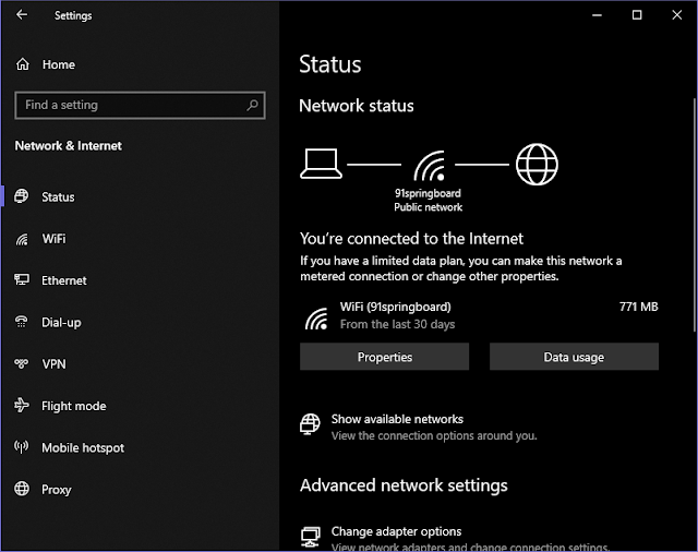 Windows 10 2004 (20H1) Network Status page are available