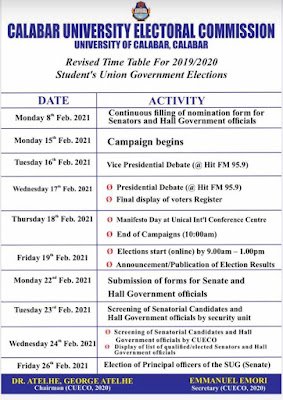 CUECO Schedules date for Unical SUG elections