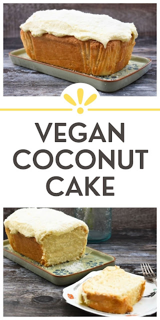 An easy vegan coconut cake that's baked it a loaf tin. It's a soft and fluffy cake topped with buttercream and coconut