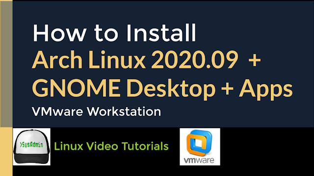 This video tutorial shows how to install Arch Linux 2020.09 with GNOME Desktop on VMware Workstation step by step. We'll install applications such as Firefox, GIMP, VLC media player, LibreOffice and Arch Linux Wallpaper on Arch Linux 2020. We'll also install VMware Tools (Open VM Tools) onArch Linux 2020 for better performance and usability (Fit Guest Now and Drag-Drop File and Mouse Integration). This tutorial also helps for installing Arch Linux on physical computer or laptop.  ArchLinux Website: https://www.archlinux.org/