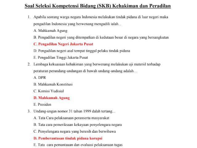 Materi Soal SKB Kehakiman dan Peradilan CPNS 2020 (Seleksi Kompetensi Bidang)