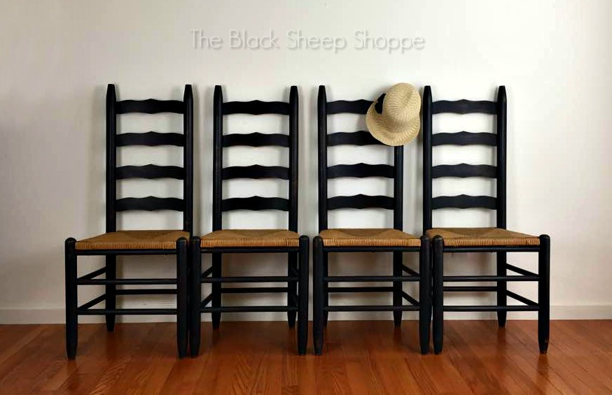 Vintage Ladder Back Chairs painted in Graphite Chalk Paint
