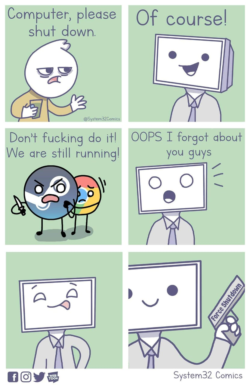 computador por favor desligue
