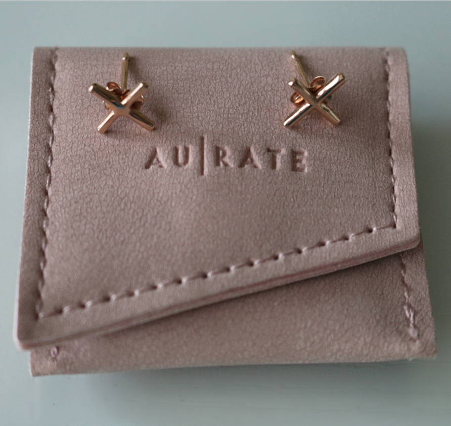 aurate x earrings rose gold