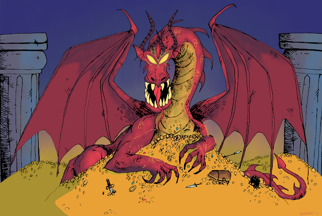 A Red Tyrant on his hoard.