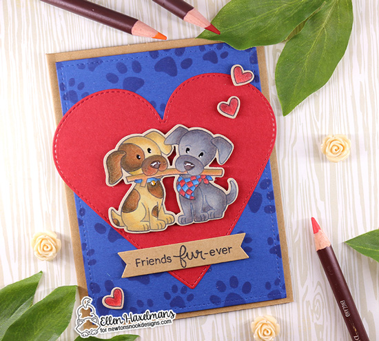 Puppy and Stick Card by Ellen Haxelmans | Puppy Pals Stamp Set and Pawprints Stencil by Newton's Nook Designs #newtonsnook #handmade