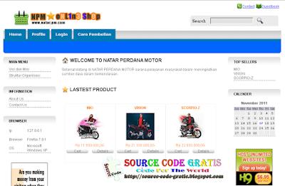 Download Gratis Source Code PHP Aplikasi Penjualan Motor (E-Commerce)