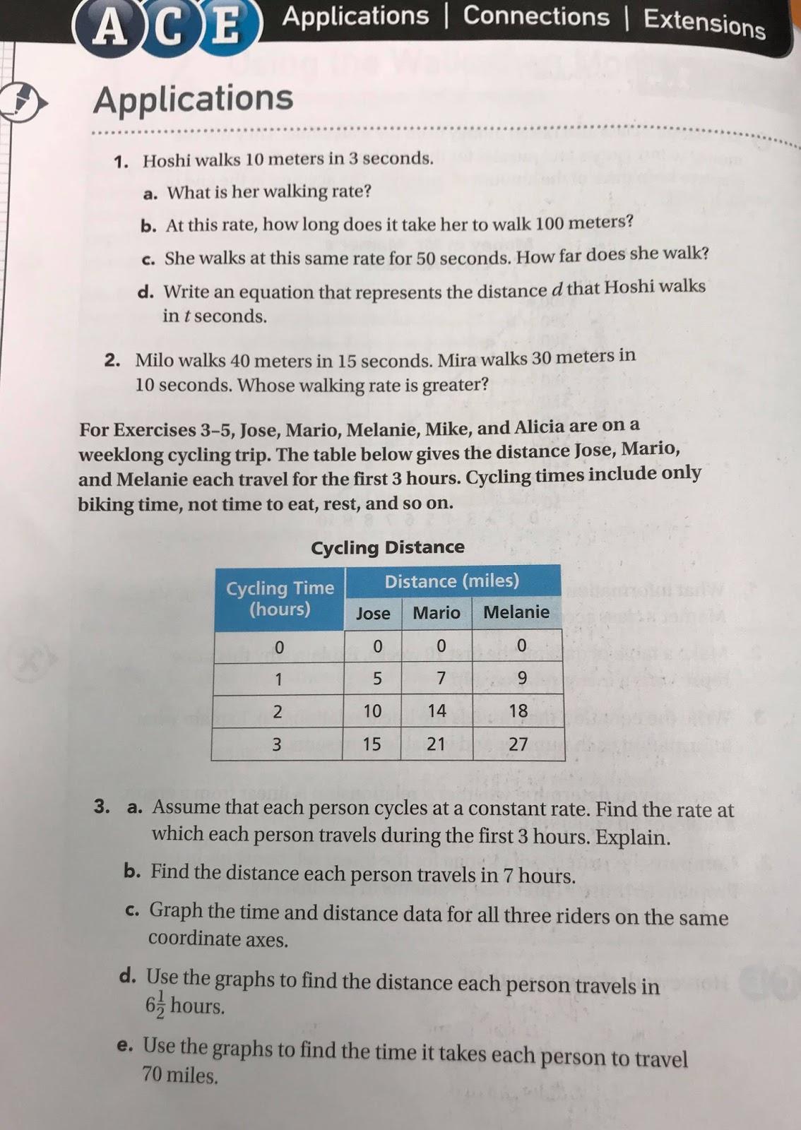 701 And 703 Math Blog Comparing Walking Rates