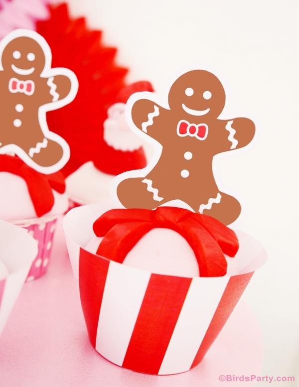 DIY Santa Fondant Cupcake Toppers - BirdsParty.com
