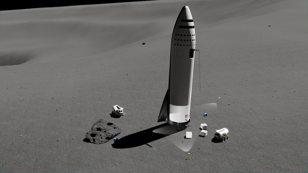 Unloading cargo from SpaceX BFR spaceship at Moon Base Alpha