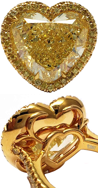 Brilliant Luxury♦Scarselli 12 Carat Fancy Intense Yellow Heart Shape Diamond V