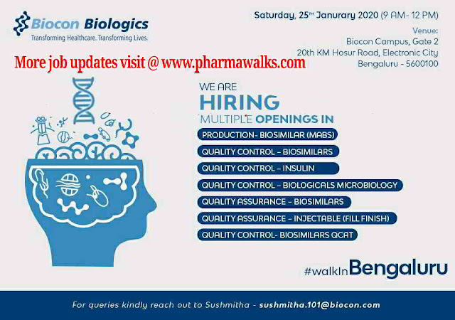 Biocon Walk-in interview for multiple positions in Production / QA / QC on 25th Jan' 2020